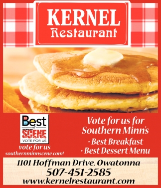 Vote for us Southern Minn's - Best Breakfast, Best Dessert Menu