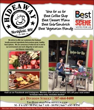 Vote for us for Best Coffee Shop, Best Dessert Menu, Best Sub / Sandwich, Best Vegetarian Friendly
