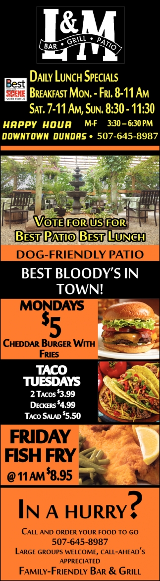 Vote for us for Best Patio, Best Lunch