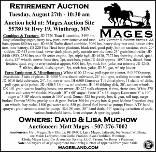 Retirement Auction August 27th