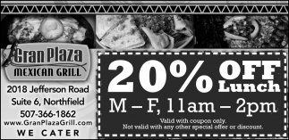 20% Off Lunch