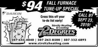 $94 Fall Furnace Tune-Up Special
