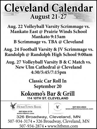 Cleveland Calendar August 21 - 27
