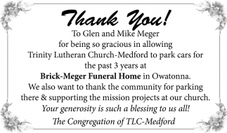 Thank You To Glen and Mike Meger