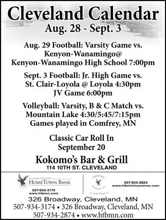 Cleveland Calendar ~ Aug. 28 - Sep. 3