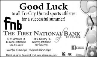 Good Luck to all Tri - City United sports athletes for a successful summer!