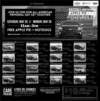 MEMORIAL DAY, Walser Chevrolet In Owatonna, Owatonna, MN