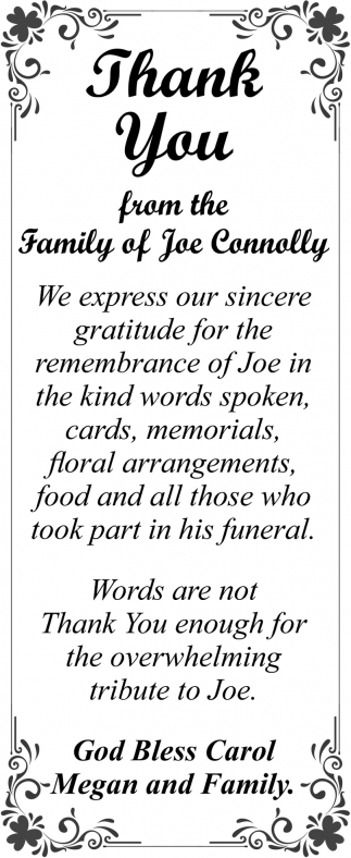 Thank You from the family of Joe Connolly