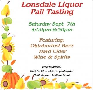 Lonsdale Liquor Fall Tasting