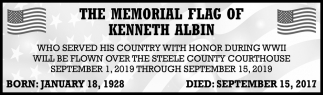 Memorial Flag of Kenneth Albin