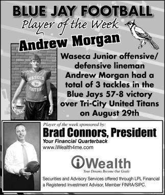 Blue Jay Football - Prayer of the Week - Andrew Morgan