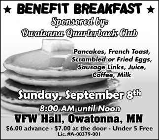 Benefit Breakfast Sponsored by Owatonna Quaterback Club
