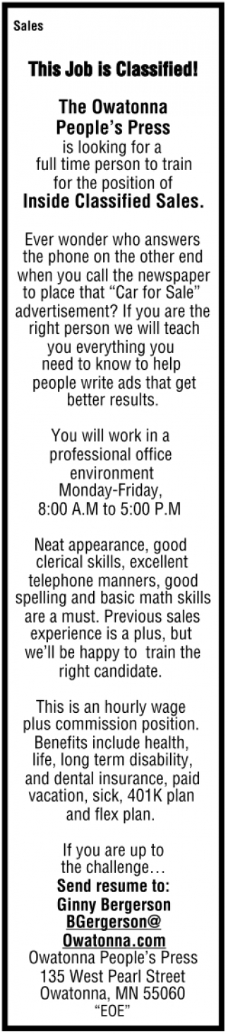 Sales - This Job is Classified!