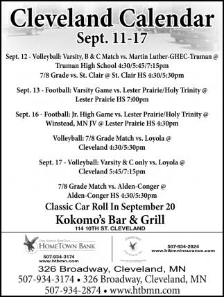 Cleveland Calendar ~ Sept. 11 - 17