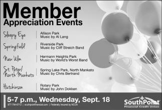 Appreciation Events - Sept. 18