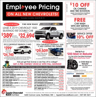 Emplyee Pricing on All New Chevrolets!