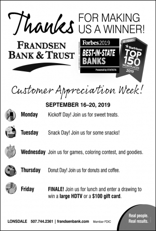 Customer Appreciation Week! - September 16 - 20