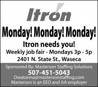 Weekly job fair - Mondays 3p - 5p