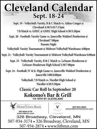 Cleveland Calendar ~ Sept. 18 - 24