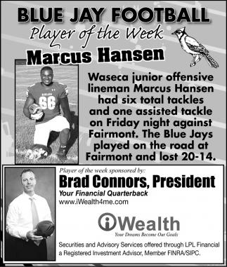 Blue Jay Football - Prayer of the Week - Marcus Hansen