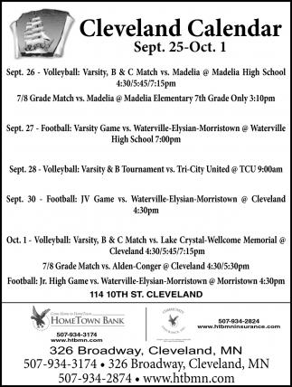 Cleveland Calendar ~ Sept. 25 - Oct. 1