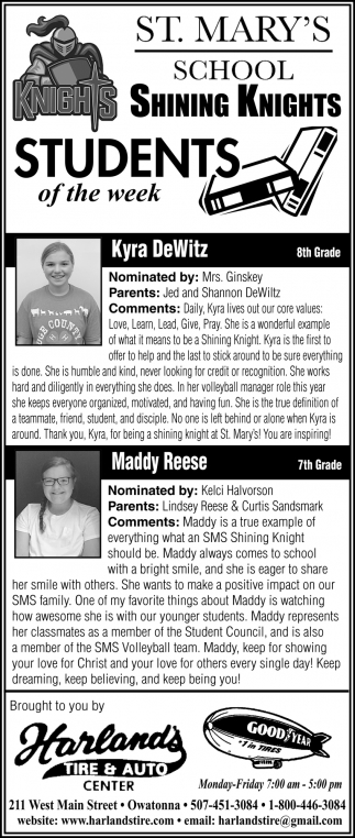 Students of the week- Kyra DeWitz, Maddy Reese