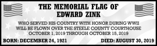 Memorial Flag of Edward Zink