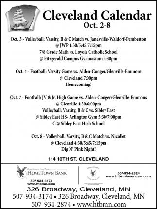 Cleveland Calendar ~ Oct. 2 - 8