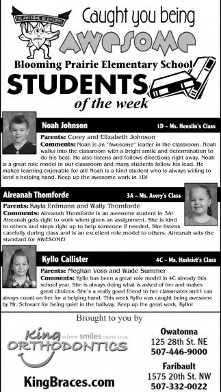 Students of the Week - Blooming Prairie Elementary School