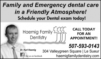 Family and emergency dental care in a Friendly Atmosphere