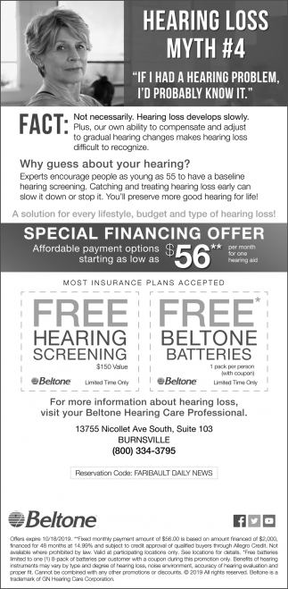 Free Hearing Screening |Free Beltone Batteries