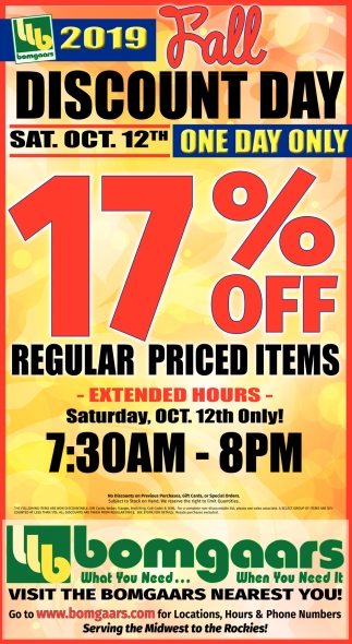 2019 Fall Discount Day