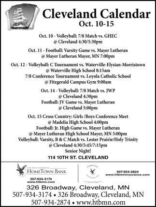 Cleveland Calendar ~ Oct. 10 - 15