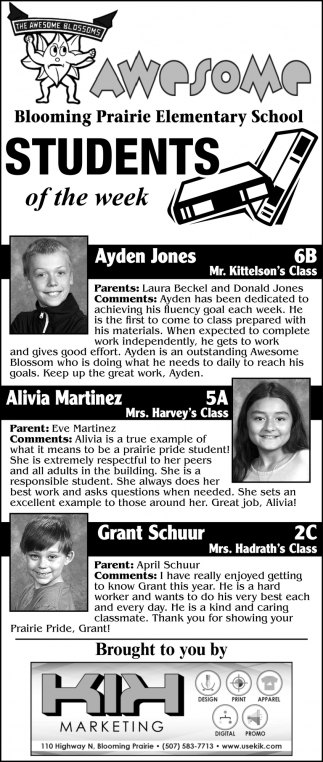Students of the week - Ayden Jones, Alivia Martinez, Grant Schuur