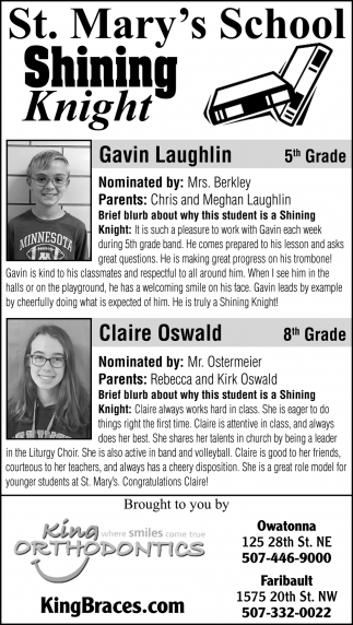Students of the Week - St. Mary's School - Gavin Laughlin, Claire Oswald