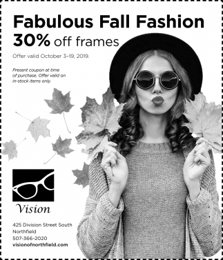 Fabulous Fall Fashion 30% off frames