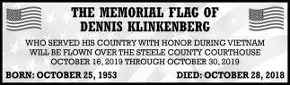 Memorial Flag of Dennis Klinkenberg
