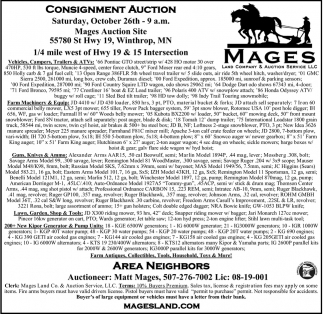 Consignment Auction - October 26th