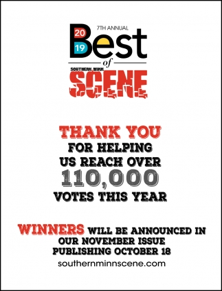 Thank You For Helping Us Reach Over 110,000 Votes This Year