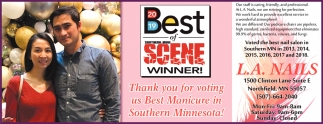 Thank you vote for voting us Best Manicure in Southern Minnesota