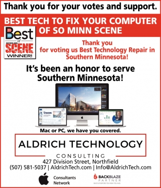 Thank you for voting us Best Technology Repair in Southern Minnesota!