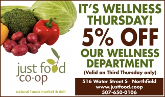 It's Wellness Thursday!  - 5% Off