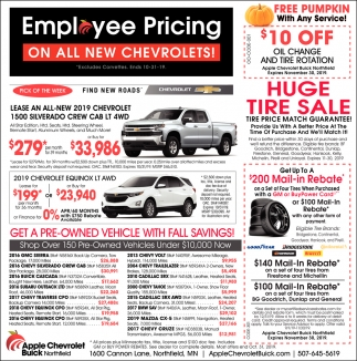 Employee Pricing on All New Chevrolets!