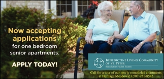 Now accepting applications for one bedroom senior apartments!