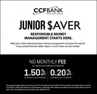 Junior $aver - Responsive Money Management Starts Here