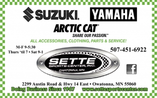 All Accesories, Clothing, Parts & Service!