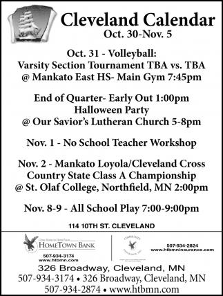 Cleveland Calendar ~ Oct. 30 - Nov. 5