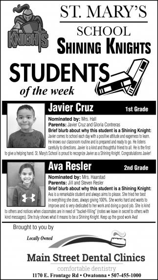 Students of the Week - Javier Cruz, Ava Resler
