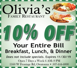 10% Off Your Entire Bill Breakfast, Lunch, & Dinner
