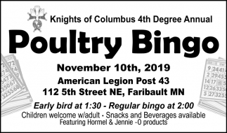 Knights of Columbus 4th Degree Annual - Poultry Bingo